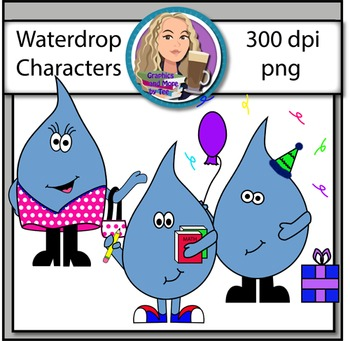 Waterdrop Character Clipart