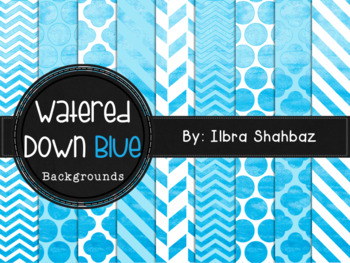 Watered Down Blue Watercolor Digital Paper Backgrounds