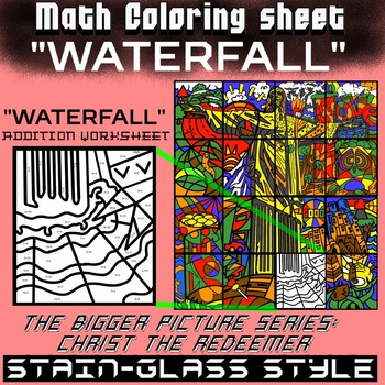 Math Colouring Worksheet (Addition) -Waterfall