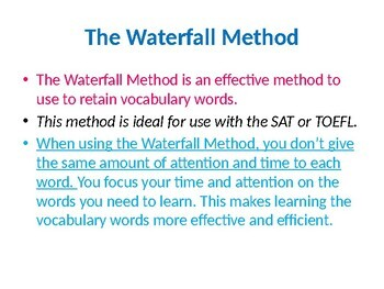 Waterfall Method--LEARNING SAT AND TOEFL VOCABULARY