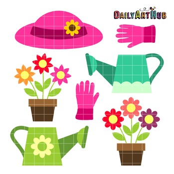 Watering Flowers Clip Art - Great for Art Class Projects!