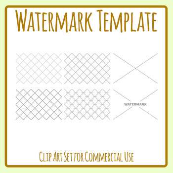 Watermark Overlay Template Clip Art Set Commercial Use