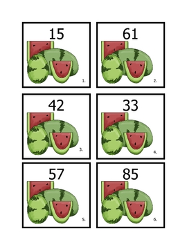 Watermelon 10 more, 10 less, 1 more, and 1 less