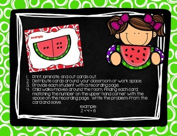 Watermelon Addition Write the Room {addition to 10}
