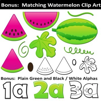 Watermelon Alphabet Letters Clip Art | Bulletin Board Letters and Numbers