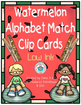 Watermelon Alphabet Match Clip Cards - Low Ink