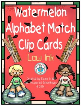 Watermelon Alphabet Match Clip Cards - Low Ink