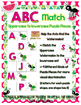 Watermelon Alphabet Matching Puzzles
