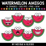 Summer Watermelon Faces Amigos Clipart