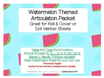 #June17SLPMustHave Watermelon Articulation Dot and Roll & Cover Sheets