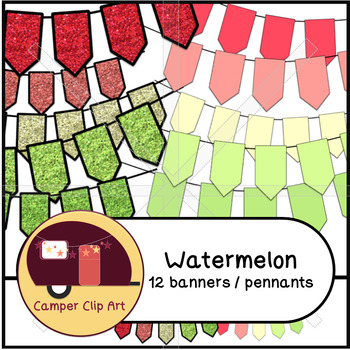 Watermelon Banners / Pennants Glitter and Solid {CU - ok!} Pinks & Greens