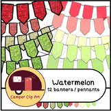 Watermelon Banners / Pennants Glitter and Solid {CU - ok!}