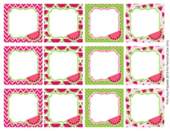 Watermelon Blank Calendar Number Tags Labels