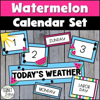 Watermelon Theme Classroom Bulletin Board Pocket Calendar Set
