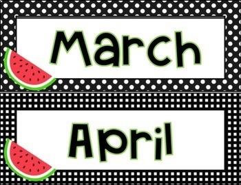 Watermelon Calendar Decor (Months and Dates)