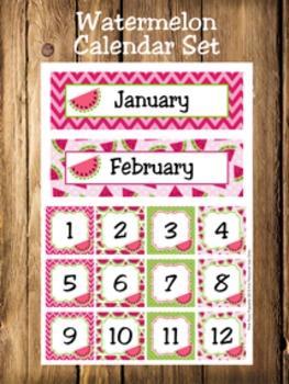 Watermelon Calendar Set - Months - Days - Numbers