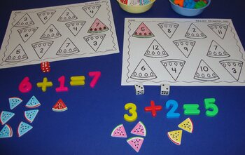 Watermelon Centers Addition Subtraction Math Activities Spring Summer