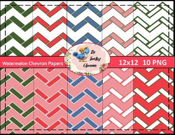 Watermelon Chevron Papers (Digital Papers for Commercial Use)