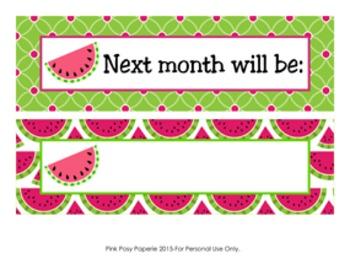 Watermelon Classroom Decor Monthly Calendar Headers
