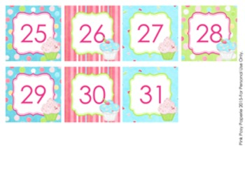 Cupcake Classroom Decor Monthly Calendar Numbers