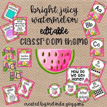 Watermelon Classroom Theme: Editable with Matching Teacher Binder