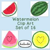 Watermelon Clip Art Bundle Summer PNG JPG Blackline Commercial Personal