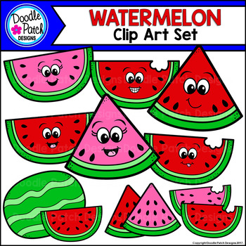Watermelon Clip Art Set - Doodle Patch Designs