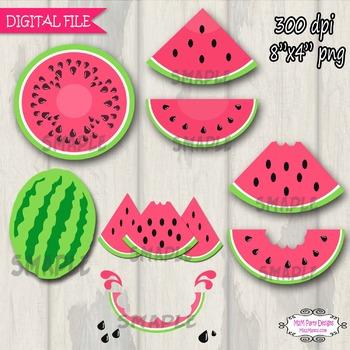 Watermelon Clipart, Digital Clip art Pink Watermelon PU / CU- SET of 8