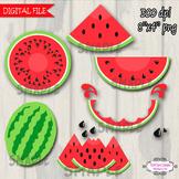 Watermelon Clipart, Digital Clip art RED Watermelon PU / CU- SET of 6