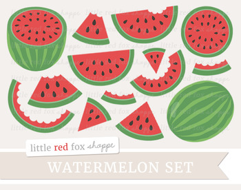 Watermelon Clipart; Fruit, Slice, Wedge