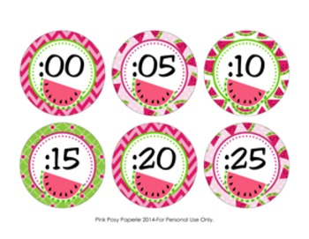Watermelon Clock Number Labels