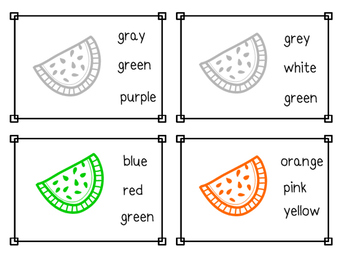 Watermelon Color Sight Word Clip Cards