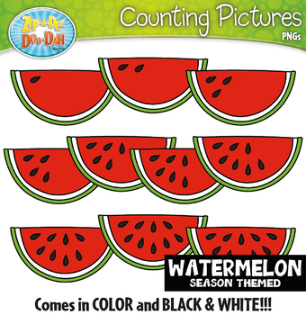 Watermelon Counting Pictures Clipart {Zip-A-Dee-Doo-Dah Designs}