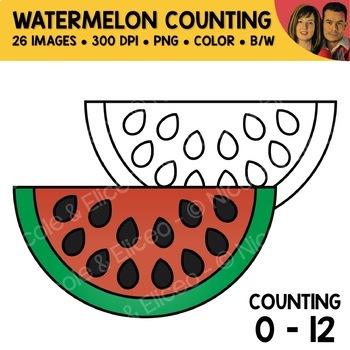 Watermelon Counting Scene Clipart