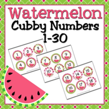 Watermelon Cubby Number Labels 1-30