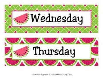Watermelon Days of the Week Calendar Headers