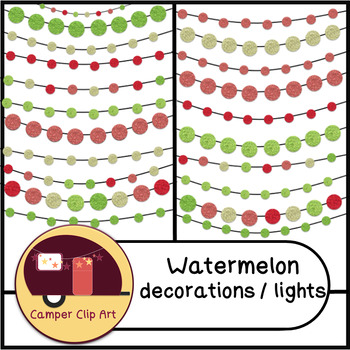 Watermelon Decorations / String Lights Glitter, Solid {CU - ok!} Pinks & Greens