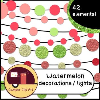 Watermelon Decorations / String Lights Glitter, Solid {CU