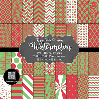 12x12 Digital Paper - Dual-Color Collection: Watermelon