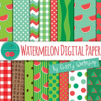 Watermelon Digital Paper - Summer Backgrounds - Clip Art f