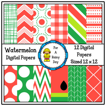 Watermelon Digital Papers (Red & Green)