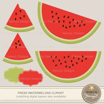 SET: Watermelon Digital Papers and Clipart, Summer Picnic Fruit Theme