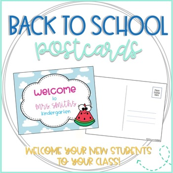 Watermelon Editable Back to School Postcards to Students