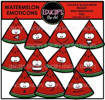 Watermelon Emoticons Clip Art Bundle {Educlips Clipart}