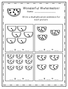 Watermelon Equal Groups - Multiplication Practice