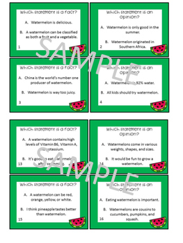 Watermelon Activities Fact and Opinion Task Cards