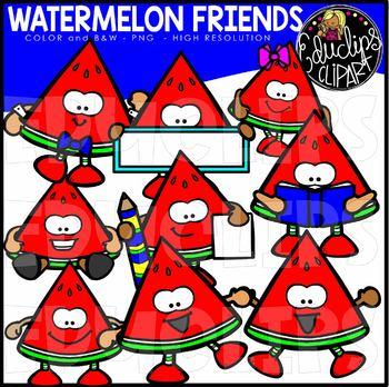 Watermelon Friends Clip Art Bundle {Educlips Clipart}