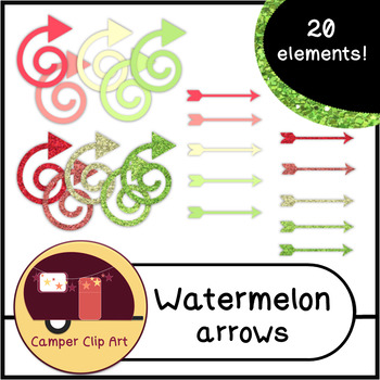 Watermelon Glitter and Solid Colors ARROWS {CU - ok!} Pinks & Greens