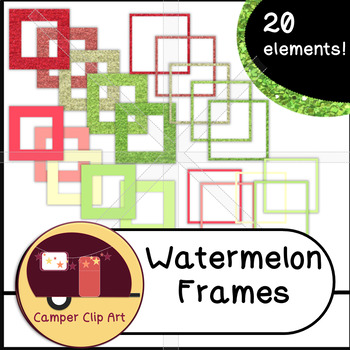 Watermelon Glitter and Solid Colors FRAMES {CU - ok!} Pinks & Greens