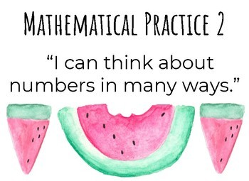 """Watermelon """"I CAN"""" Mathematical Practices Posters"""